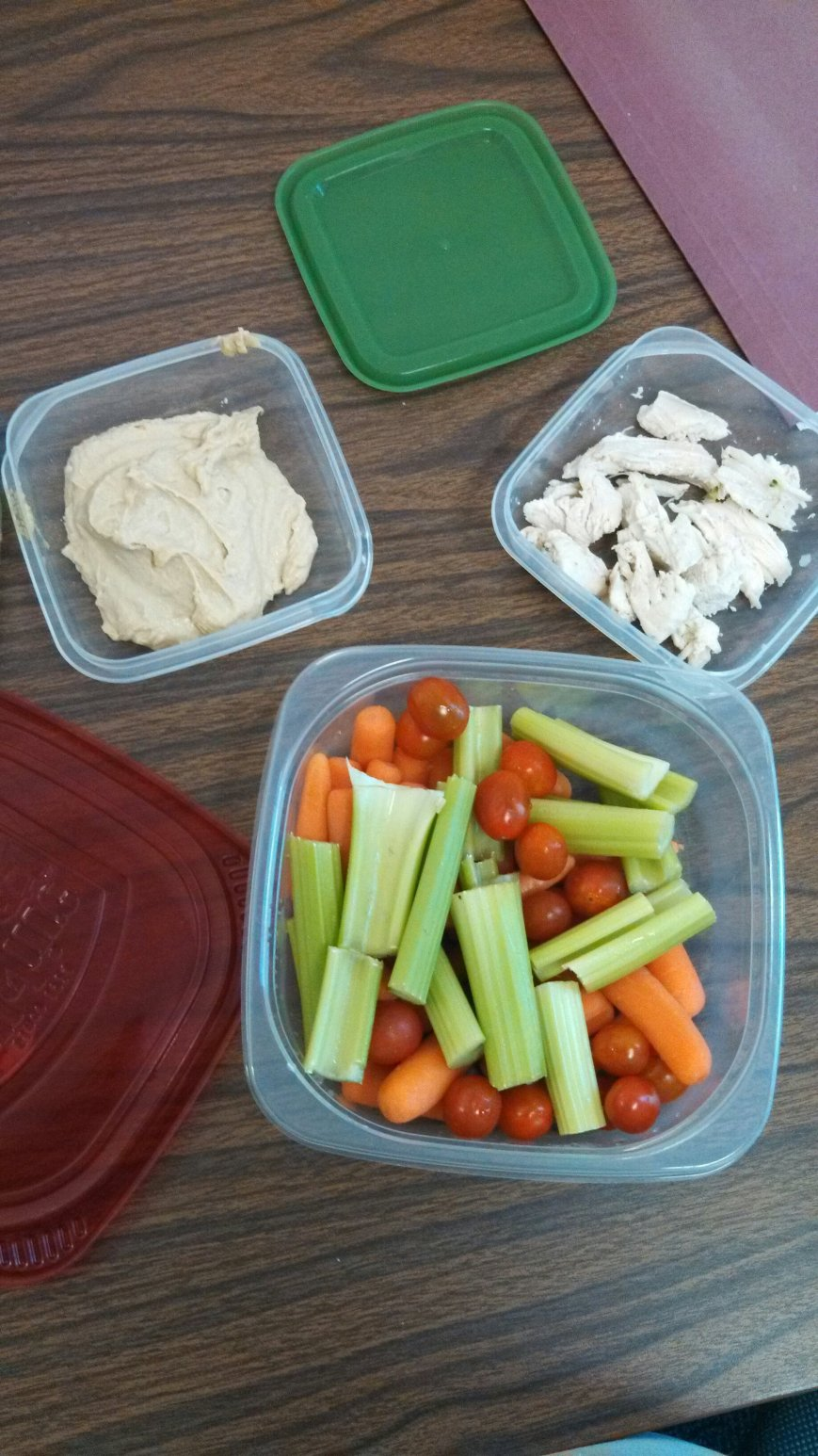 Raw veggies with hummus, with 3 oz of chicken.