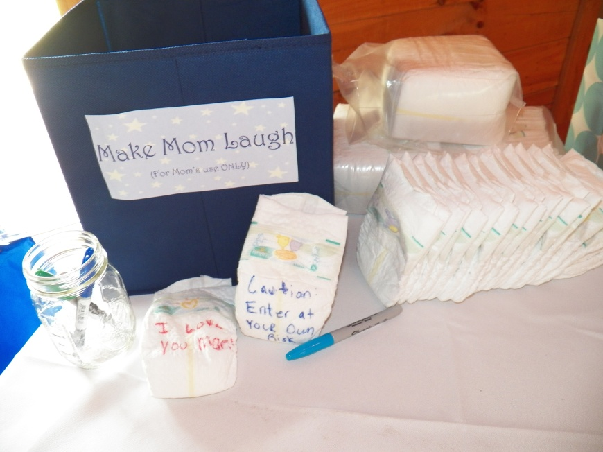 We had a fun activity where guests could write funny messages on Jordan's Diapers, that were only for Mom! Hopeing to make her smile in the middle of the night!