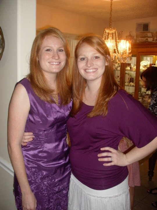 At my Michelle's Bridal Shower. See we look like sisters:) Unlike the blonde sister of ours!