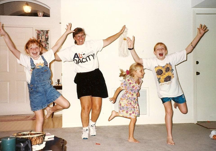 Probably one of my favorite memories from growing up, and probably what started my obsession with the Olympics! We were re-enacting Kerri Strug and her landing!