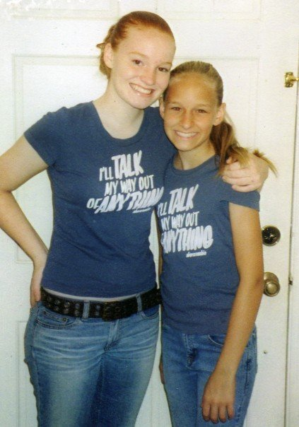 In High School, I was a Senior and she was a Freshman, we both got dressed in the same shirt, but we didn't care:)