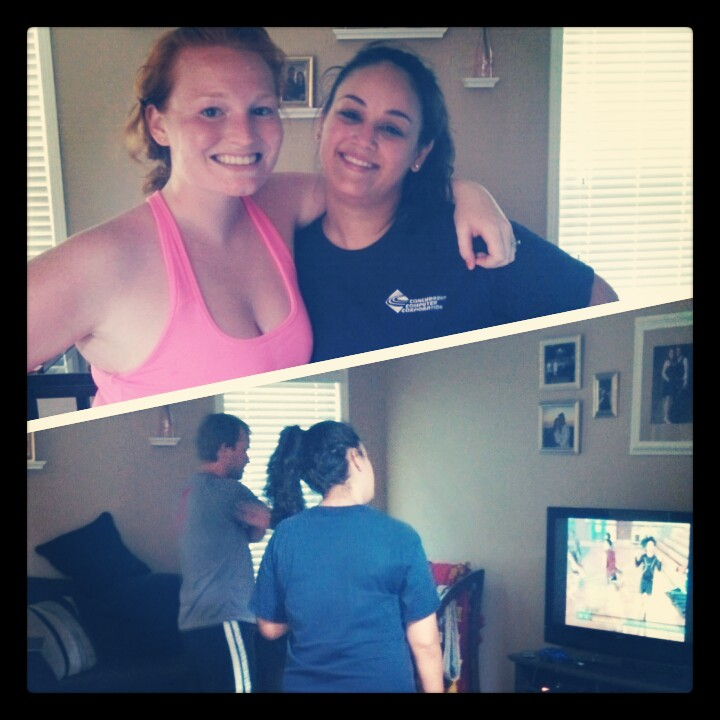 My friend came to visit, and we inspired her to try Insanity:)