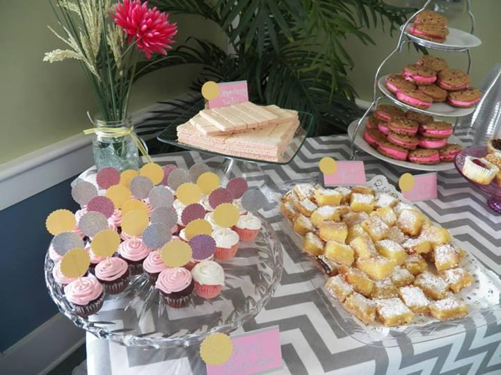 Dessert Table: Cupcakes, Yo-Yo's, Lemon Bars, Cheesecake Bites, strawberry wafers:)