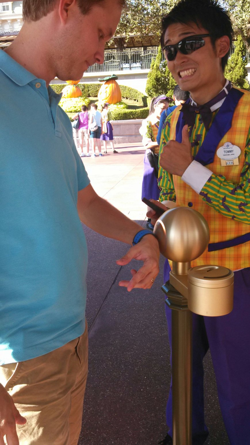You simply hold it up to the Mickey globes, and it will light up, and you are good to go! It also acted as our room key.
