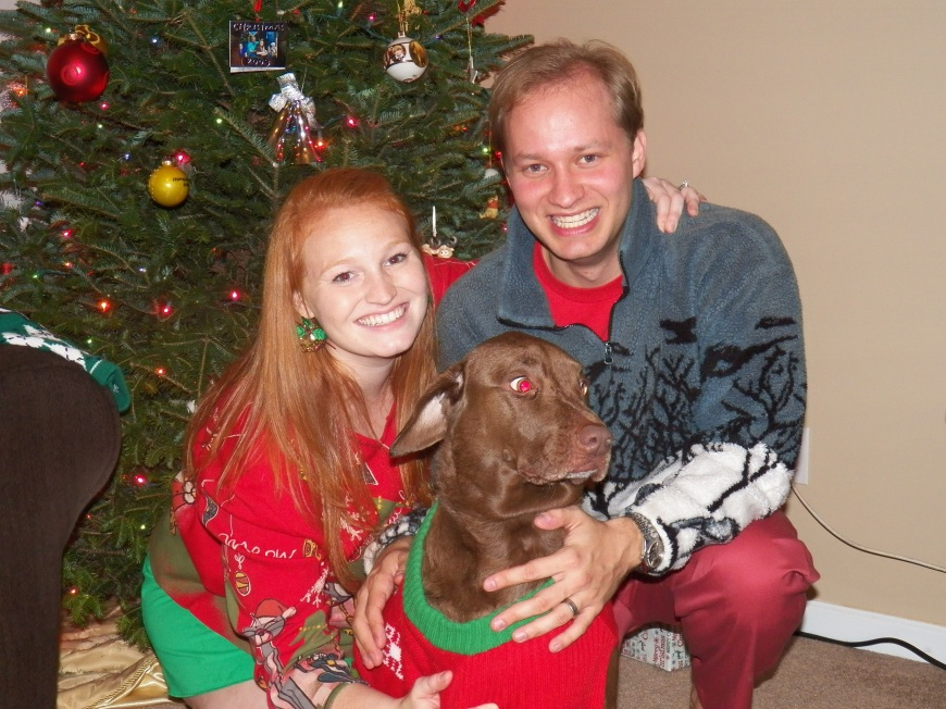 At our Ugly Sweater Party. Our last family picture taken before the chaos began.