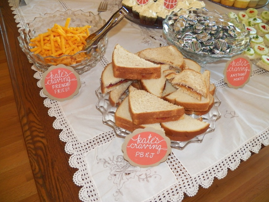 Baby shower food with a twist! I wanted to include a fun spin on the menu, so I included items Kate was craving. Pb&J sandwiches, French fries and anything mint:)