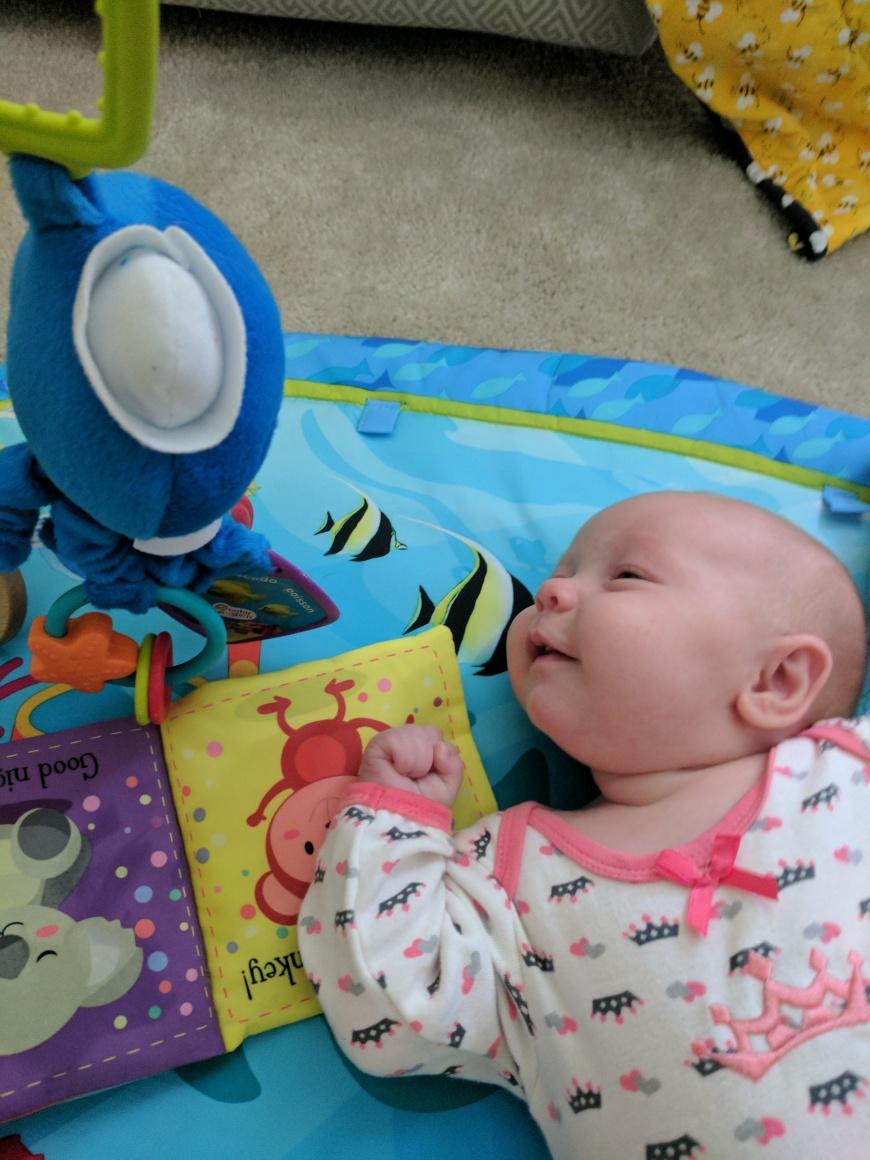 She loves her Blue octopus!